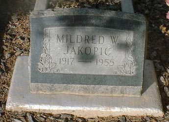 JAKOPIC, MILDRED W. - Lake County, Colorado | MILDRED W. JAKOPIC - Colorado Gravestone Photos