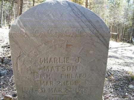 MATSON, CHARLIE J. - Lake County, Colorado   CHARLIE J. MATSON - Colorado Gravestone Photos