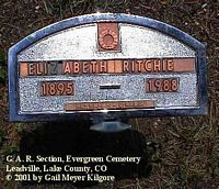 RITCHIE, ELIZABETH - Lake County, Colorado | ELIZABETH RITCHIE - Colorado Gravestone Photos