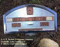 RITCHIE, JOHN S. - Lake County, Colorado | JOHN S. RITCHIE - Colorado Gravestone Photos