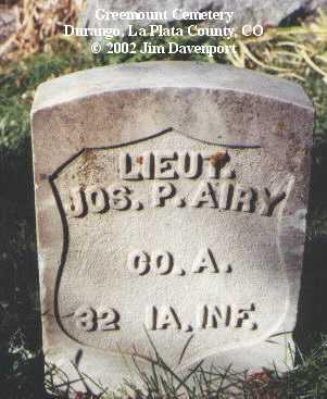AIRY, JOS. P. - La Plata County, Colorado   JOS. P. AIRY - Colorado Gravestone Photos
