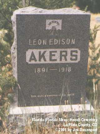 AKERS, LEON EDISON - La Plata County, Colorado | LEON EDISON AKERS - Colorado Gravestone Photos