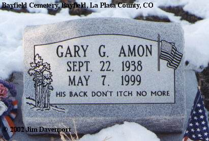 AMON, GARY G. - La Plata County, Colorado | GARY G. AMON - Colorado Gravestone Photos