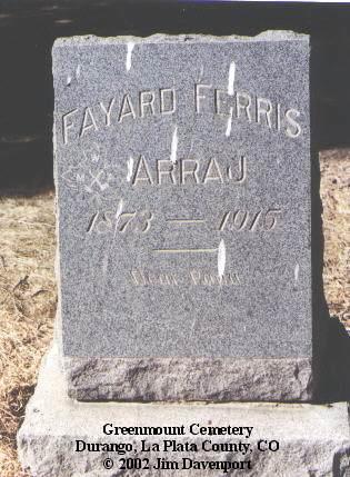 ARRAJ, FAYARD FERRIS - La Plata County, Colorado | FAYARD FERRIS ARRAJ - Colorado Gravestone Photos
