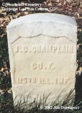 CHAMPLAIN, J. C. - La Plata County, Colorado | J. C. CHAMPLAIN - Colorado Gravestone Photos