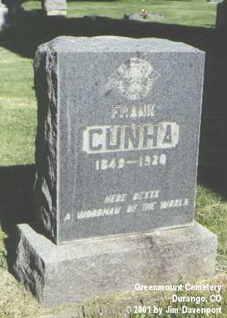 CUNHA, FRANK - La Plata County, Colorado | FRANK CUNHA - Colorado Gravestone Photos