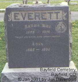 EVERETT, SARAH MAY - La Plata County, Colorado   SARAH MAY EVERETT - Colorado Gravestone Photos