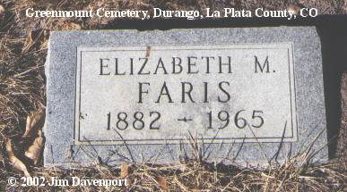 CUNHA FARIS, ELIZABETH M. - La Plata County, Colorado | ELIZABETH M. CUNHA FARIS - Colorado Gravestone Photos