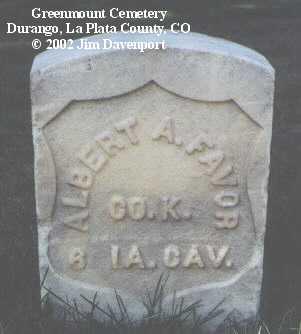 FAVOR, ALBERT A. - La Plata County, Colorado   ALBERT A. FAVOR - Colorado Gravestone Photos