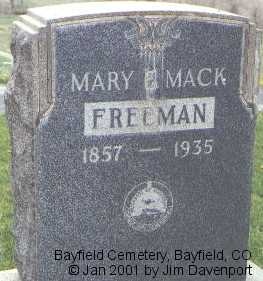 MACK FREEMAN, MARY E. - La Plata County, Colorado | MARY E. MACK FREEMAN - Colorado Gravestone Photos