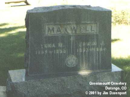 MAXWELL, ANNA M. - La Plata County, Colorado   ANNA M. MAXWELL - Colorado Gravestone Photos