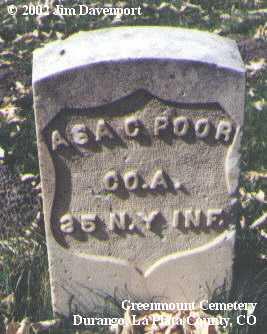 POOR, ASA C. - La Plata County, Colorado | ASA C. POOR - Colorado Gravestone Photos