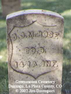 ROSE, J. J. M. - La Plata County, Colorado | J. J. M. ROSE - Colorado Gravestone Photos