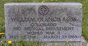 ROSS, WILLIAM FRANCIS - La Plata County, Colorado   WILLIAM FRANCIS ROSS - Colorado Gravestone Photos
