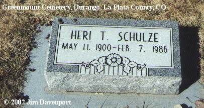 SCHULZE, HERI T. - La Plata County, Colorado | HERI T. SCHULZE - Colorado Gravestone Photos