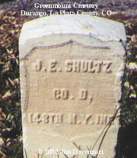 SHULTZ, J. E. - La Plata County, Colorado   J. E. SHULTZ - Colorado Gravestone Photos