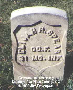 SPEAR, ELIJAH H. - La Plata County, Colorado | ELIJAH H. SPEAR - Colorado Gravestone Photos