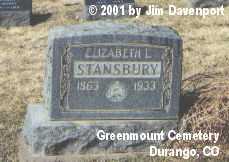 STANSBURY, ELIZABETH L. - La Plata County, Colorado | ELIZABETH L. STANSBURY - Colorado Gravestone Photos
