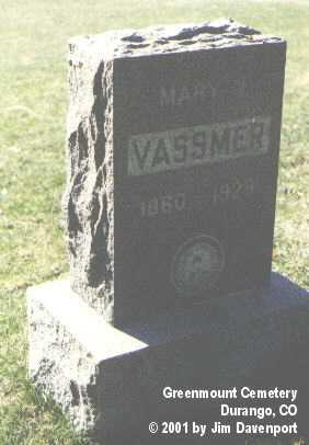 VASSMER, MARY J. - La Plata County, Colorado | MARY J. VASSMER - Colorado Gravestone Photos