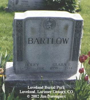 BARTLOW, FOLEY - Larimer County, Colorado | FOLEY BARTLOW - Colorado Gravestone Photos