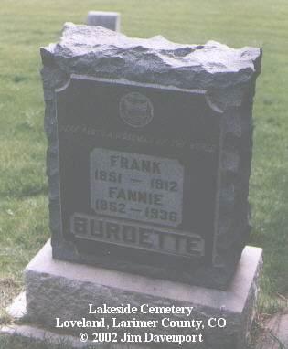 BURDETTE, FRANK - Larimer County, Colorado | FRANK BURDETTE - Colorado Gravestone Photos