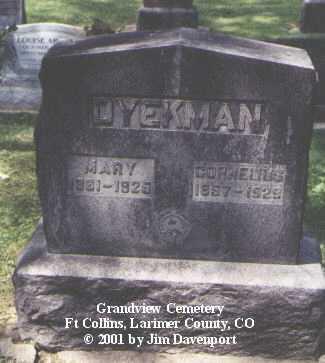 DYEKMAN, CORNELIUS - Larimer County, Colorado   CORNELIUS DYEKMAN - Colorado Gravestone Photos