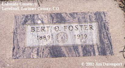 FOSTER, BERT O. - Larimer County, Colorado | BERT O. FOSTER - Colorado Gravestone Photos