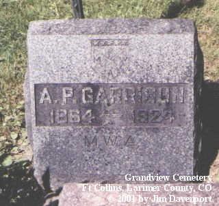 GARRISON, A. P. - Larimer County, Colorado   A. P. GARRISON - Colorado Gravestone Photos