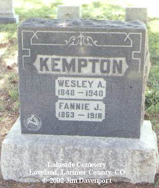 KEMPTON, FANNIE J. - Larimer County, Colorado | FANNIE J. KEMPTON - Colorado Gravestone Photos