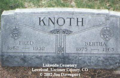 KNOTH, BERTHA - Larimer County, Colorado | BERTHA KNOTH - Colorado Gravestone Photos
