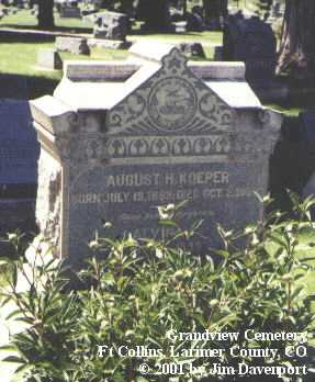KOEPER, AUGUST H. - Larimer County, Colorado | AUGUST H. KOEPER - Colorado Gravestone Photos