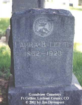 LEETE, LAURA B. - Larimer County, Colorado   LAURA B. LEETE - Colorado Gravestone Photos