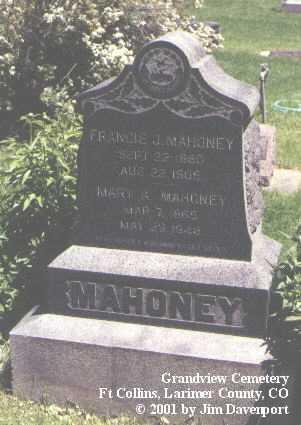 MAHONEY, FRANCIS J. - Larimer County, Colorado | FRANCIS J. MAHONEY - Colorado Gravestone Photos