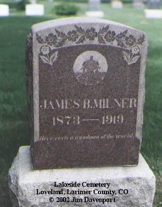 MILNER, JAMES B. - Larimer County, Colorado | JAMES B. MILNER - Colorado Gravestone Photos
