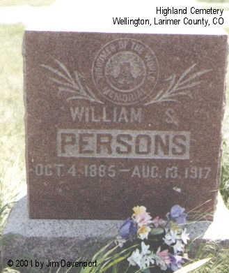 PERSONS, WILLIAM S. - Larimer County, Colorado | WILLIAM S. PERSONS - Colorado Gravestone Photos