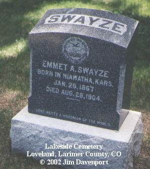 SWAYZE, EMMET A. - Larimer County, Colorado | EMMET A. SWAYZE - Colorado Gravestone Photos