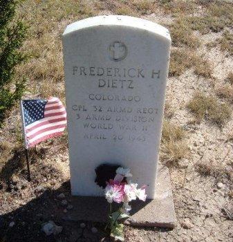 DIETZ (VETERAN WWII KIA), FREDERICK H - Las Animas County, Colorado | FREDERICK H DIETZ (VETERAN WWII KIA) - Colorado Gravestone Photos