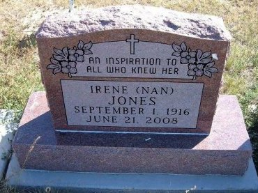 "JONES, IRENE G ""NAN"" - Las Animas County, Colorado 
