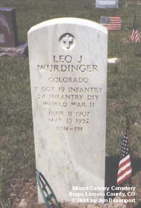 WURDINGER, LEO J. - Lincoln County, Colorado | LEO J. WURDINGER - Colorado Gravestone Photos