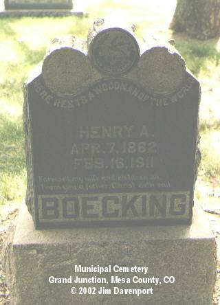BOECKING, HENRY A. - Mesa County, Colorado   HENRY A. BOECKING - Colorado Gravestone Photos