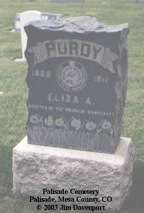 PURDY, ELIZA A. - Mesa County, Colorado | ELIZA A. PURDY - Colorado Gravestone Photos