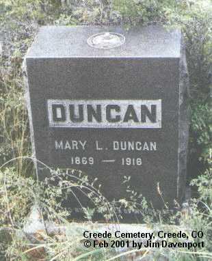 DUNCAN, MARY L. - Mineral County, Colorado   MARY L. DUNCAN - Colorado Gravestone Photos