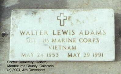 ADAMS, WALTER LEWIS - Montezuma County, Colorado | WALTER LEWIS ADAMS - Colorado Gravestone Photos