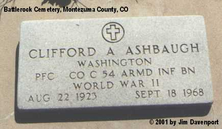 ASHBAUGH, CLIFFORD A. - Montezuma County, Colorado | CLIFFORD A. ASHBAUGH - Colorado Gravestone Photos