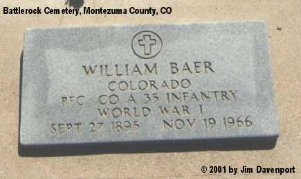 BAER, WILLIAM - Montezuma County, Colorado   WILLIAM BAER - Colorado Gravestone Photos