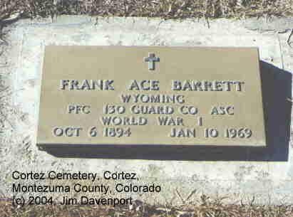 BARRETT, FRANK ACE - Montezuma County, Colorado   FRANK ACE BARRETT - Colorado Gravestone Photos