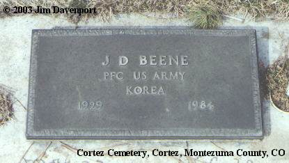 BEENE, J. D. - Montezuma County, Colorado   J. D. BEENE - Colorado Gravestone Photos