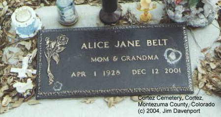 BELT, ALICE JANE - Montezuma County, Colorado | ALICE JANE BELT - Colorado Gravestone Photos