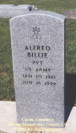 BILLIE, ALFRED - Montezuma County, Colorado | ALFRED BILLIE - Colorado Gravestone Photos