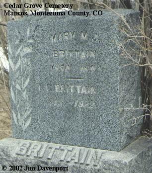 BRITTAIN, MARY M. J. - Montezuma County, Colorado   MARY M. J. BRITTAIN - Colorado Gravestone Photos